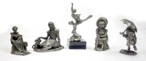 Pewter figurines, Hudson, Wally, Holly Hobbie and others, range from $10 to $55.