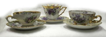Gold-trimmed and flower patterned teacups, sets, individuals and more.